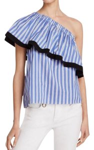 MILLY Top blue and white striped