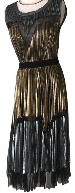 Item - Gold/Silver 344673 Mid-length Night Out Dress Size 4 (S)