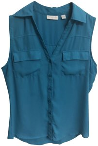 New York & Company Spring Button-up Casual Sleeveless Button Down Shirt Light blue