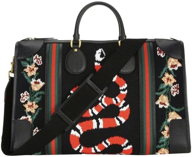 Item - Duffle Rare Nwot Neo-vintage Needlepoint with Web Print Multicolor Leather Weekend/Travel Bag
