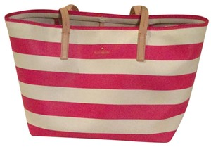 Kate Spade Summer Tote in Pink and White