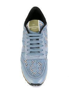 Valentino Lace Trim Leather Sneaker Blue Athletic