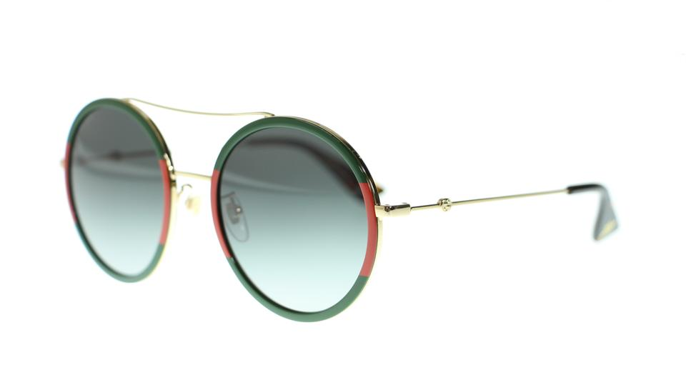 128a42d335 Gucci Gucci GG0061S 003 Round Green Red Fashion Oval Womens Sunglasses  Image 5. 123456