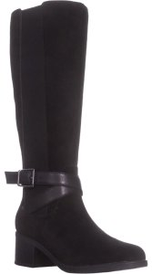 Clarks Riding Tall Suede Leather Black Boots