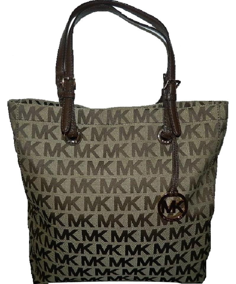 c1810369309a89 Michael Kors Nwot Large Mk Jet Set Khaki/Light Brown/Mahogany/Gold Jacquard  Fabric/Genuine Leather Tote