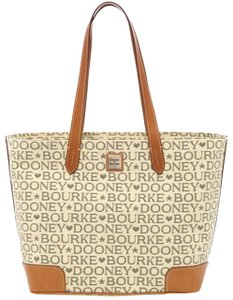 Dooney & Bourke Tote in Black Tan Brown Red Gold Silver Tone