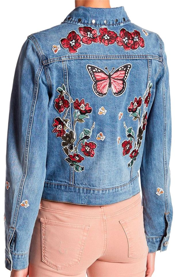 b4f14d724 Bagatelle Denim Studded Floral Patched Embroidered Jean Fits Large Jacket  Size 10 (M) 66% off retail