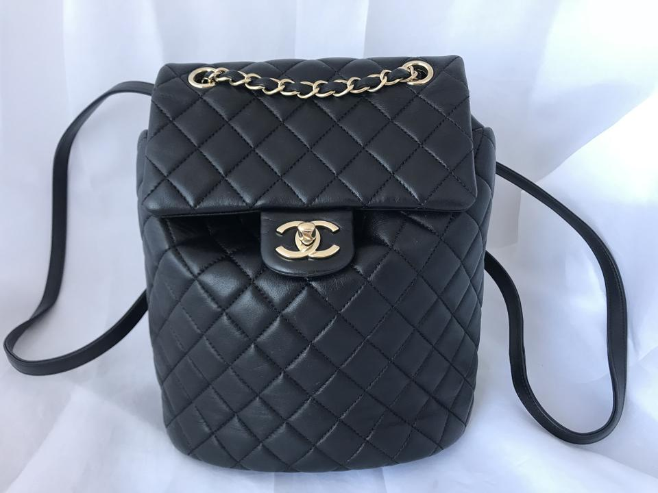 55c64361c9d3 Chanel Lambskin Quilted Small Urban Spirit Ghw Black Leather Backpack -  Tradesy