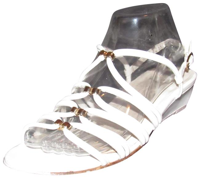 Item - White Leather with Gold Accents Vintage Shoes/Designer Sandals Size US 8 Regular (M, B)