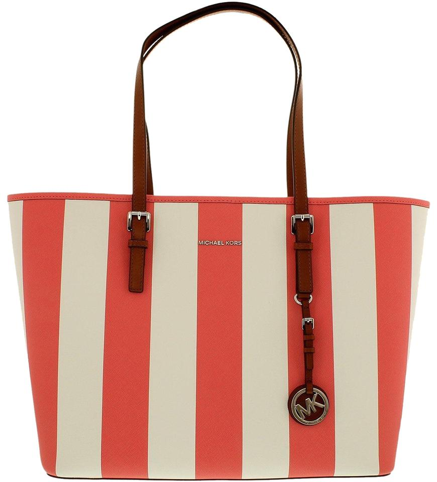 7366f6313865d ... handbag 90857 d2503; sale michael kors mk travel jet set large mk large  travel mk tote in coral white