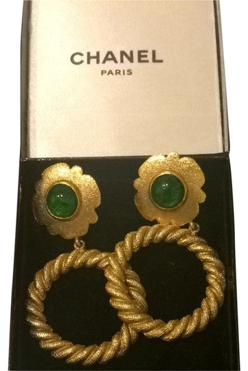 Preload https://item5.tradesy.com/images/chanel-gold-tone-with-green-stone-flower-hoops-2346289-0-0.jpg?width=440&height=440