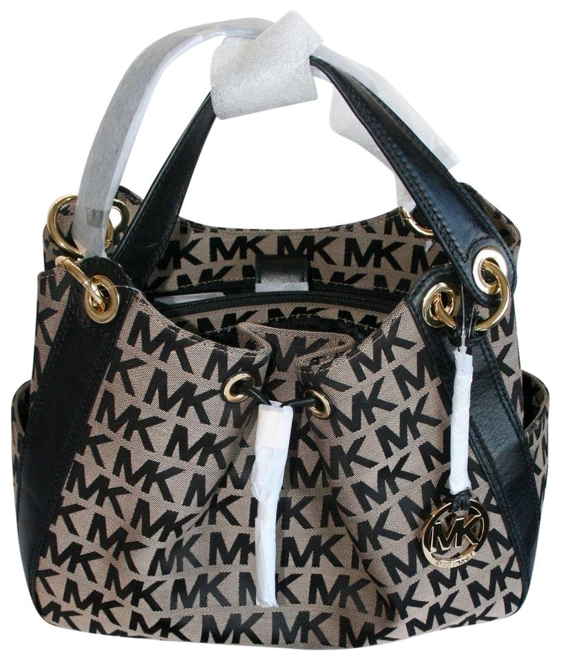 Michael Kors Ludlow and Wallet (New with Tags) Signature Monogram Logo Beige Black Gold Hardware Jaquard Tote 26% off retail