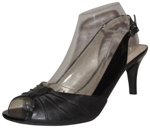 Etienne Aigner Dressy Or Casual Slingback Style Open Toe Style New Unworn Mixed black leather and black patent leather Pumps