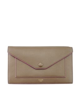 Céline Celine Large Flap Multifunction Brown Leather Snap Wallet (149519)