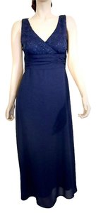 R & M Richards Dark Blue Sequins Sleeveless Dress