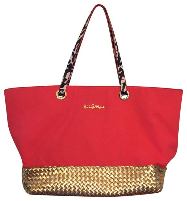 Item - Roomy Pink Gold Multi Canvas Tote