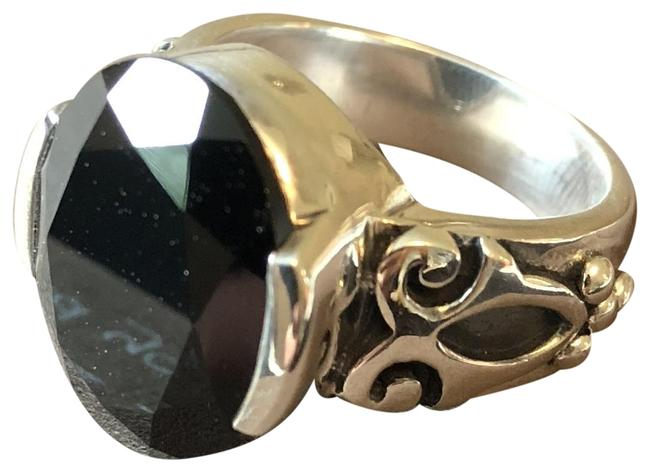 Item - Black Faceted Chalcedony and Sterling Silver Ring