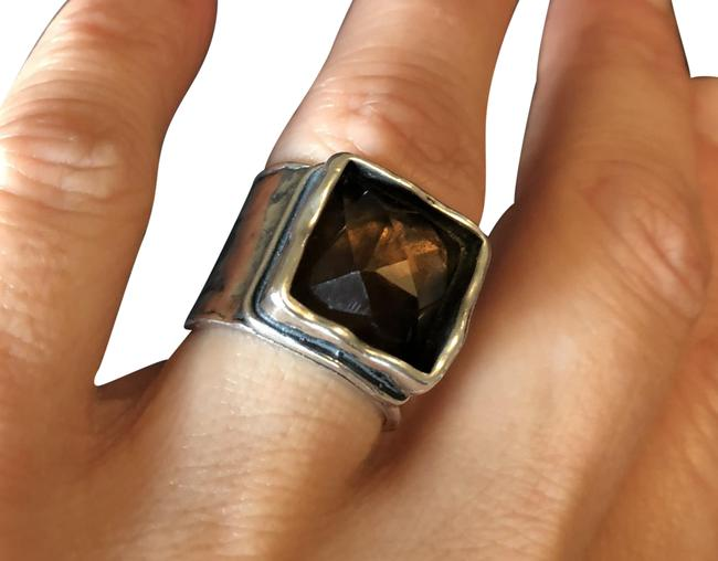 Item - Brown Hammered Sterling Silver and Smoky Quartz Ring