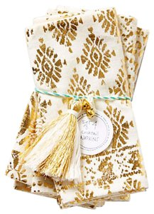 Anthropologie Ivory / Gold Golden Filigree Napkins