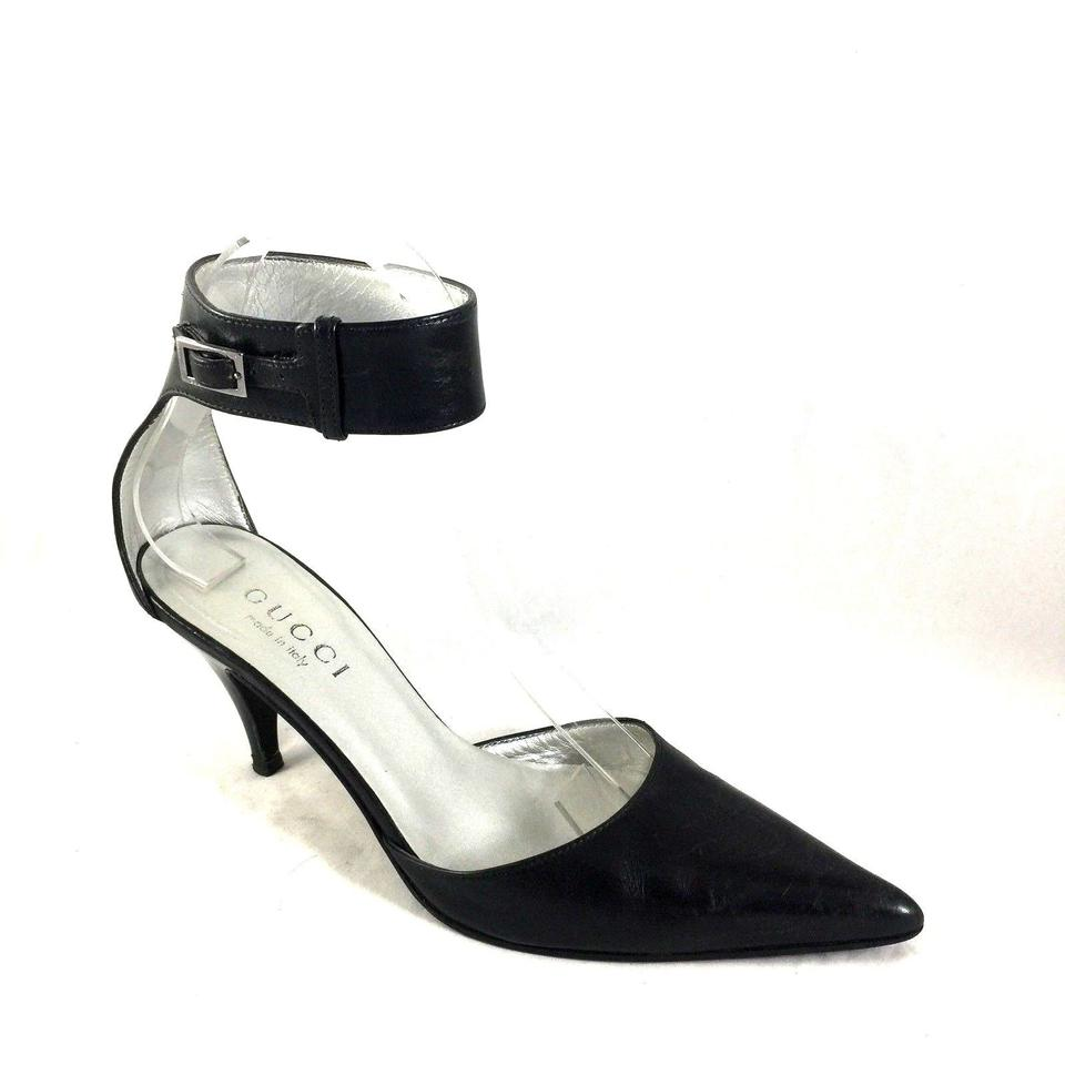 63fac77c6 Gucci Ankle Strap Pointed Toe Leather Kitten Heel black Pumps Image 0 ...