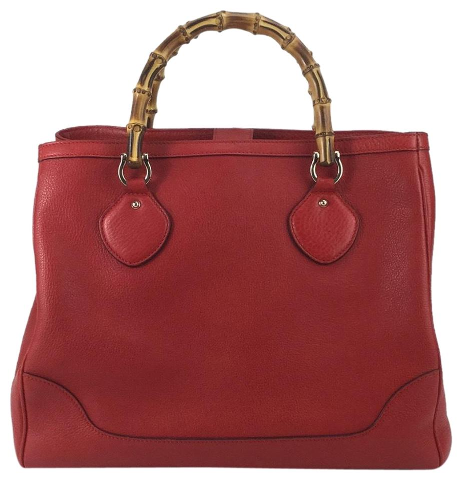 6856073d832 Gucci Bamboo Handle Red Leather Tote - Tradesy