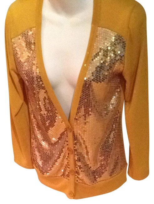 Preload https://item2.tradesy.com/images/route-66-gold-mustard-burnt-button-up-sequinned-sweater-vest-size-10-m-2346436-0-0.jpg?width=400&height=650