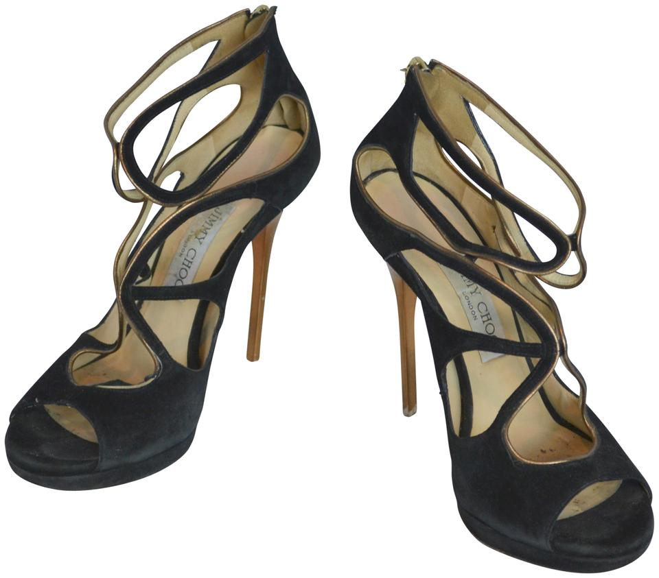 Jimmy Choo Black Suede Cage Cage Cage Stiletto Heels Sandals 77e2cb