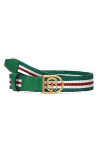 Gucci GG Logo Striped Belt Size 85