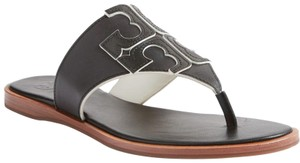 Tory Burch Logo Flip Flop Leather Flat Black Ivory Sandals