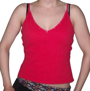 Derek Heart Rhinestones Lattice Back Top Red