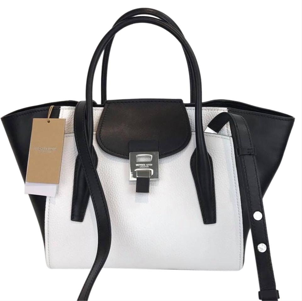 51f0e4467fc2 Michael Kors Collection White Bancroft Medium Tote Black Leather ...