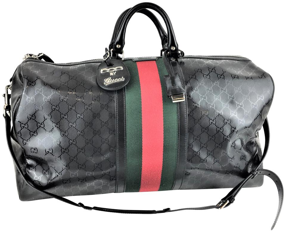 99c8893f1b20 Gucci Duffle Imprime Monogram Web Carry On Black Coated Canvas  Weekend/Travel Bag