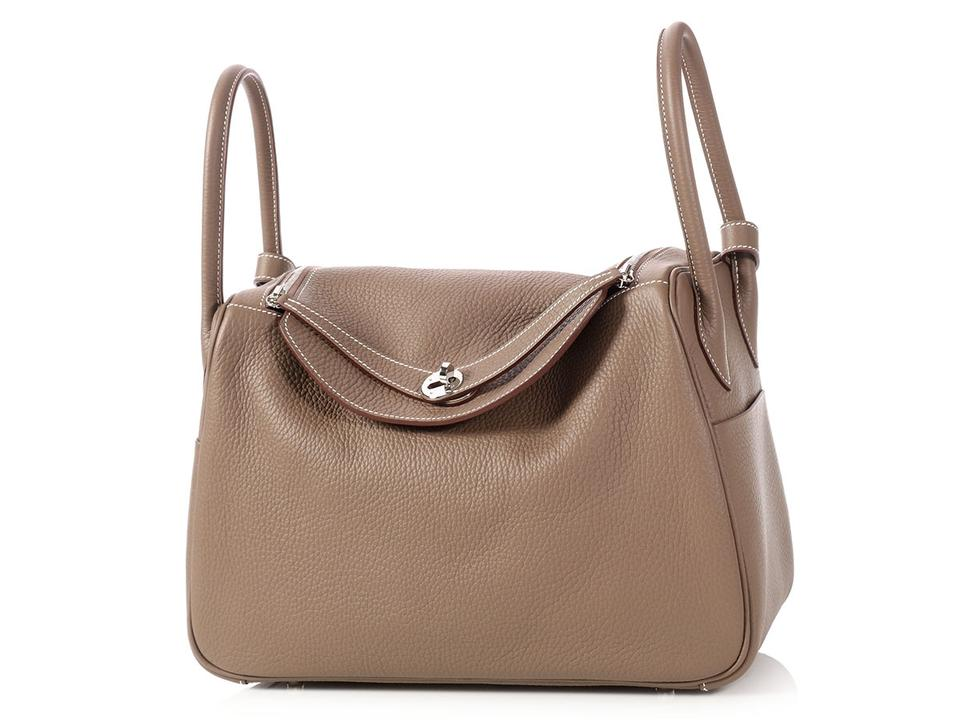 Etoupe Hermès Clemence Leather Lindy Satchel 34 FqwqOnZHE