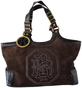 Tory Burch Suede Patent Leather Designer Satchel in Brown