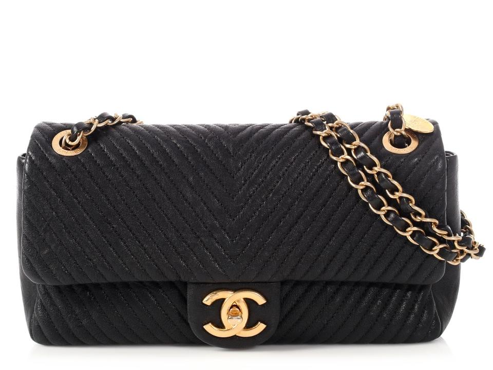 29835034761c47 Chanel Flap Chevron Quilted Distressed Black Calfskin Leather Cross Body Bag