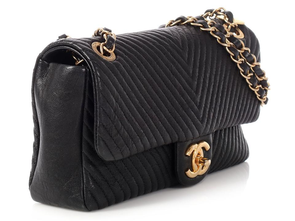 9b64fefd58d1 Chanel Flap Chevron Quilted Distressed Black Calfskin Leather Cross ...