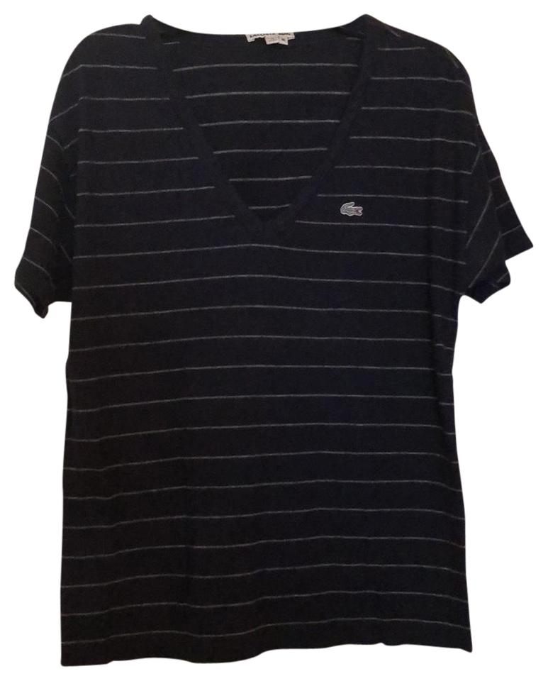 01beff26091de Lacoste Light Grey Striped and Navy Blue Striped Tee Shirt Size 8 (M ...