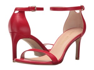 Stuart Weitzman Leather Mid Heel Dress Ankle Strap Red Sandals