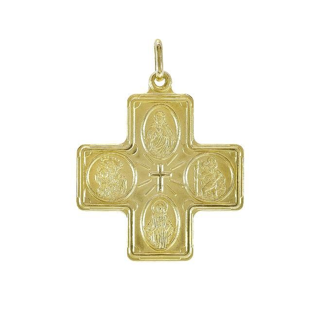 Item - Yellow Gold 14k Four Way Cross Medal Pendant