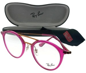 Ray-Ban RX7097-5631-49 Round Unisex Pink Frame Clear Lens Genuine Eyeglasses