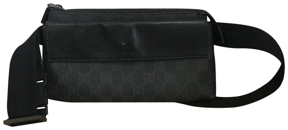 d6fd8168a812 Gucci Fanny Pack Black and Gray Coated Fabric Shoulder Bag - Tradesy