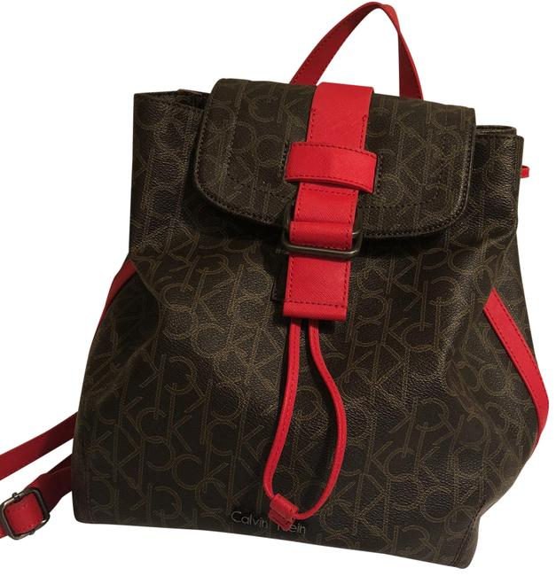 Item - Ck Brown and Red Leather Backpack