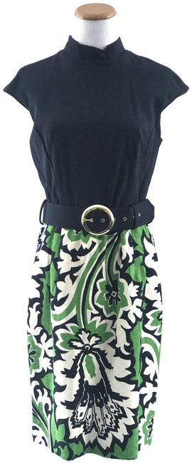 Item - Navy/Green Rosalee Combo Mid-length Short Casual Dress Size 8 (M)