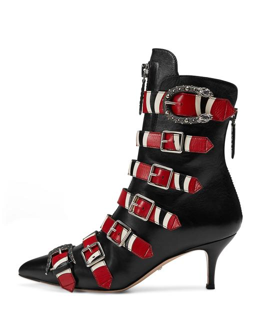 Item - Nero/Hibiscus Red 452915 Susana 65mm Web Detail Buckle Black Leather Boots/Booties Size EU 39 (Approx. US 9) Regular (M, B)