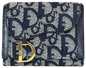 Dior Christian Dior Blue Diorissimo Canvas Saddle Compact Wallet