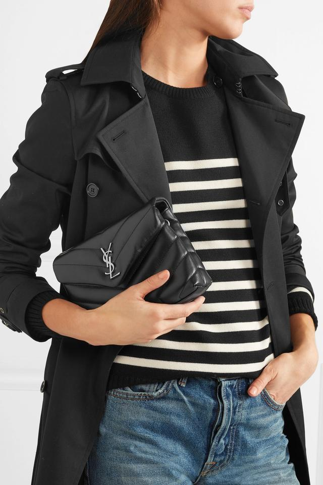 Saint Laurent Monogram Loulou Quilted Shoulder Black Leather Cross ... 49bc32687e678