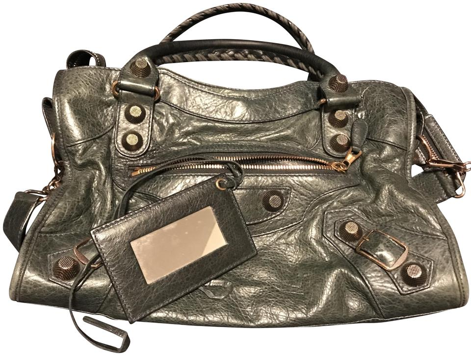 73f9b81fc51b Balenciaga City Giant 21 Rose Gold Motorcycle Anthracite Leather Shoulder  Bag