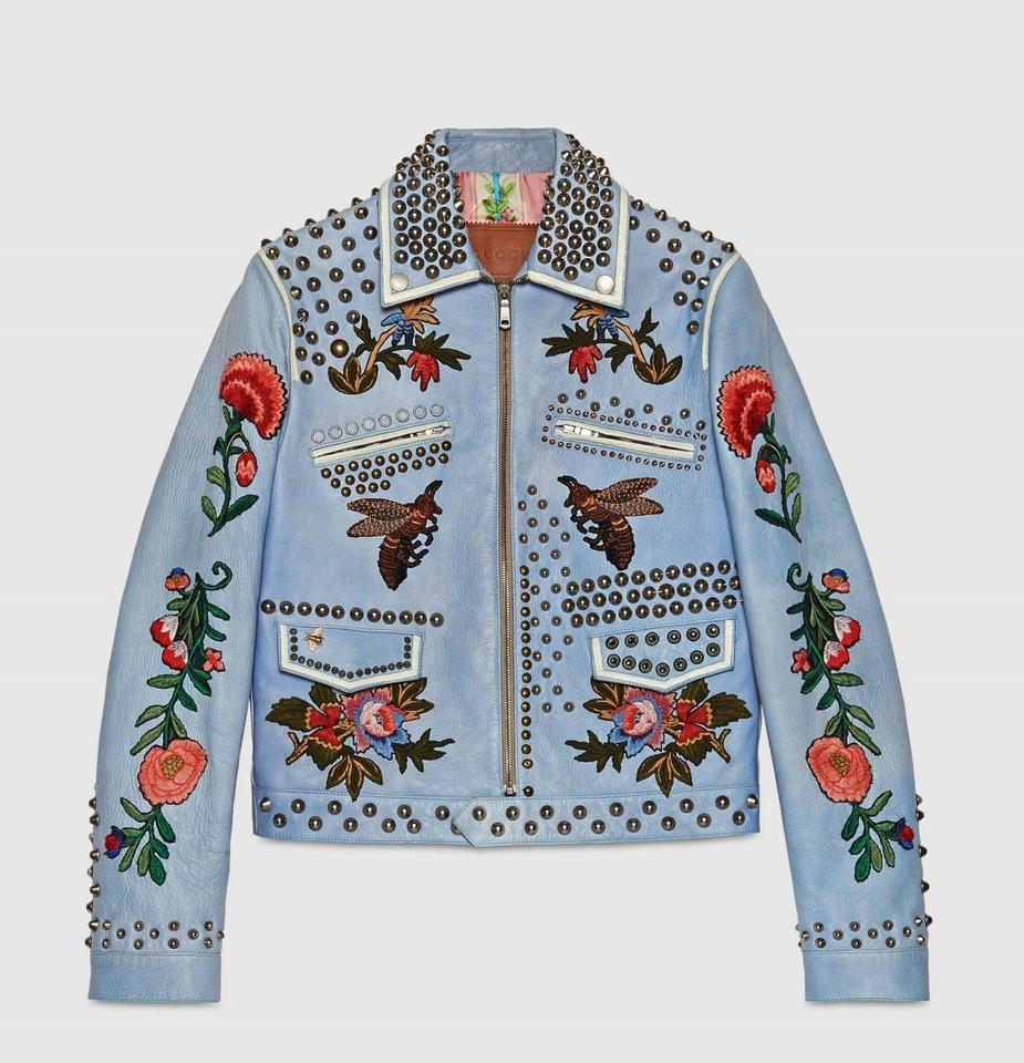 7ff63c304b02 Gucci Smokey Blue Leather Jacket W Embroidery and Studs 52 416979 4150  Groomsman Gift Image ...