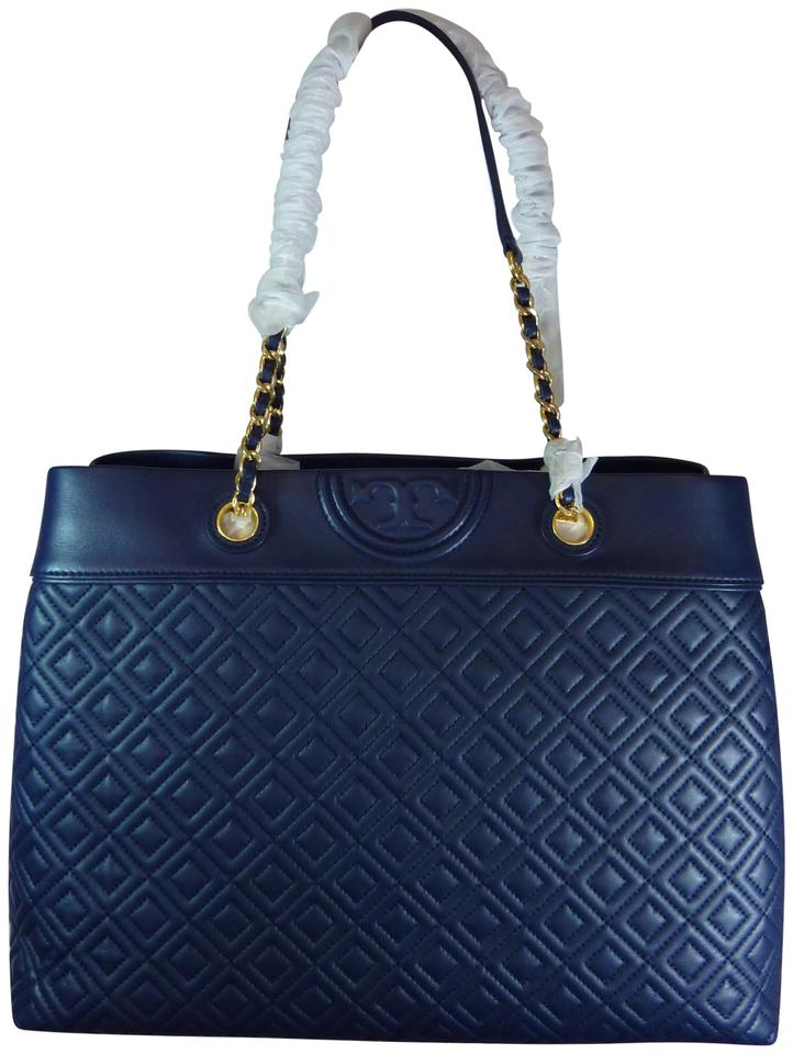 ad9dd2ce8c7d7 Tory Burch Fleming Royal Triple Compartment Tote Navy Leather ...