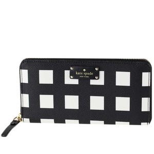Kate Spade NEW KATE SPADE NEW YORK PLAID CHECK ZIP CONTINENTAL WALLET BAG LEATHER